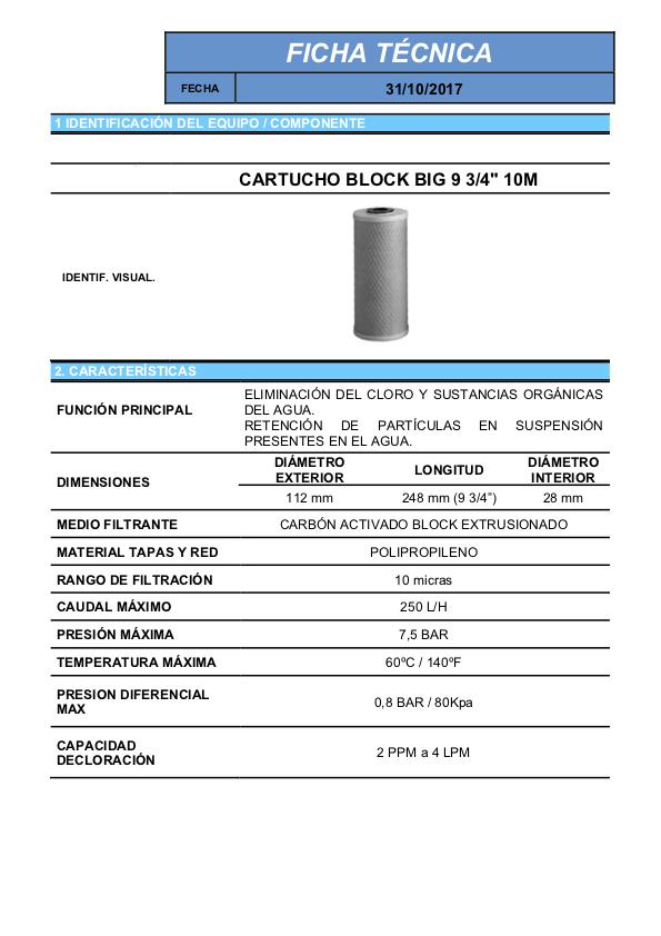 Ficha tecnica Cartucho BLOCK para filtros de agua para la casa 10