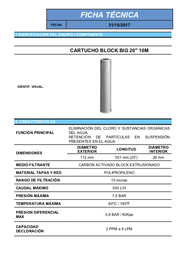 Ficha tecnica Cartucho carbon en bloque BLOCK para filtros de agua para la casa 20