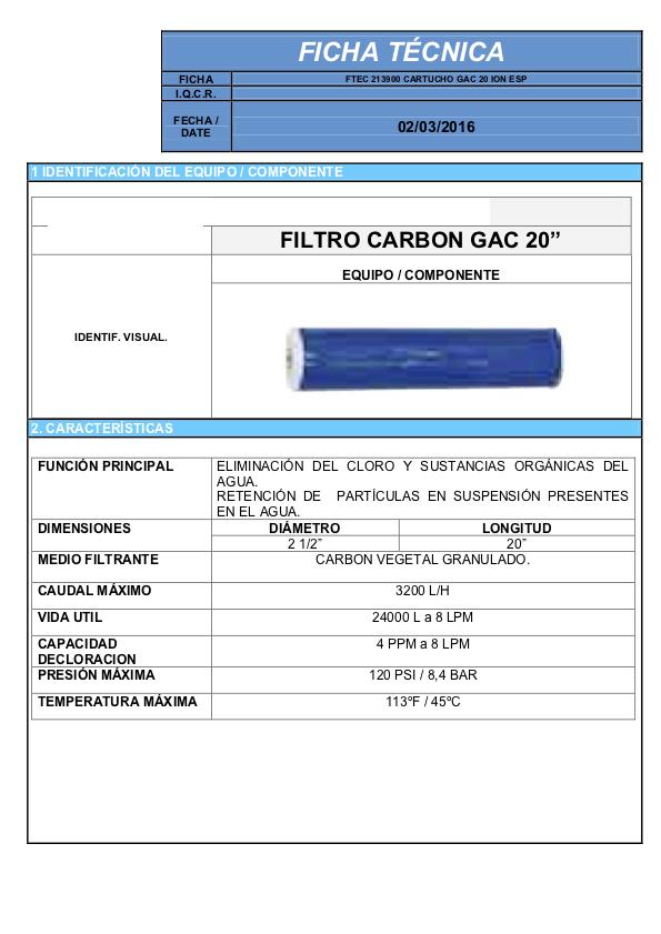 Ficha tecnica cartucho de carbon en granulo GAC para filtros de agua para toda la casa AV BIG WHITE 20