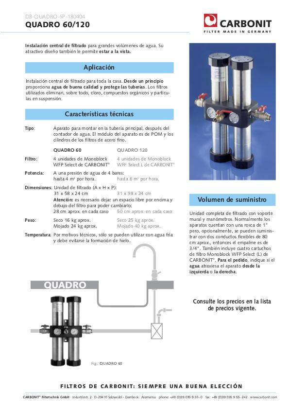 Filtro de agua QUADRO 60 de Carbonit ficha técnica