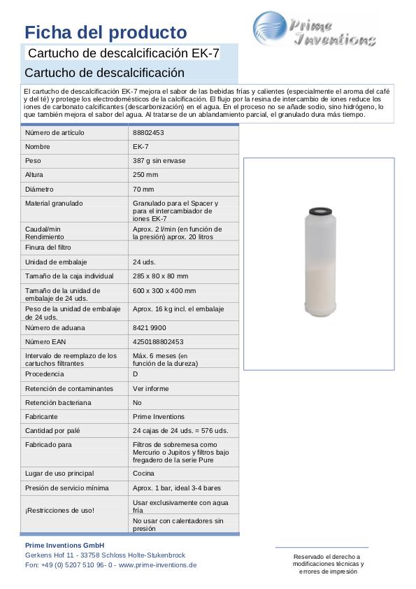 filtros de agua cartucho filtrante antical descalcificador EK-7