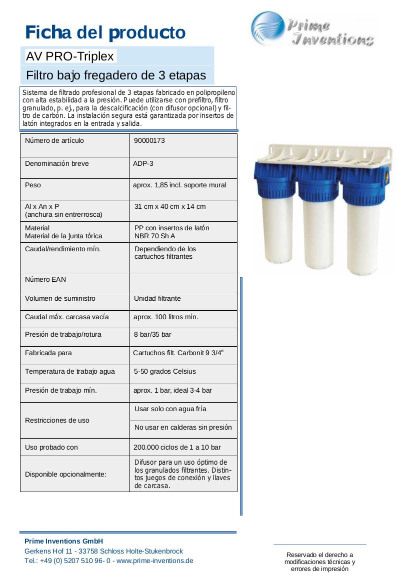 filtro-de-agua-AV-PROFI-LINE-Triplex-Hoja-tecnica-ES